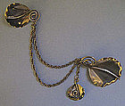 Handmade Sterling Chatelaine Pin, c. 1945