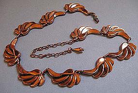 Renoir Copper Scroll Necklace, c. 1960