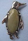 Mexican Sterling and Quartz Penguin Pin, c. 1955