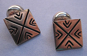 Mexican Sterling Silver Cufflinks, c. 1940