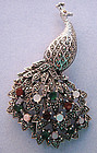 Sterling and Marcasite Peacock Pin, c. 1950