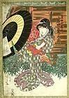 Japanese Woodblock Print Bijin Kunisada 1820s Edo