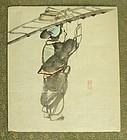 Fine Japanese Shijo Drawing by Dozan. Late Edo Period