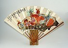 Japanese Block Print Fdlg Fan by Tessai. Taisho 10 1921