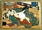 Japanese Woodblock Shunga Erotic Print 1830s Edo Period