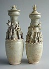 Pair Tall Chinese Song Dynasty Qingbai Dragon Jars