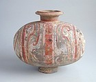 Fine Chinese Western Han Dynasty Painted Cocoon Jar