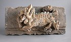 Large Chinese Ming Dynasty Painted Pottery Tile - Qilin