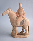 Chinese Tang Dynasty Painted Pottery Horse & Rider