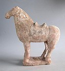 Chinese Tang Dynasty Painted Pottery Saddled Horse