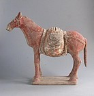 Chinese Northern Wei Dynasty Painted Pottery Pack Horse