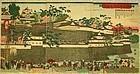 Rare Japanese Woodblock Triptych Print by Toyohiko Okayama Castle 1870