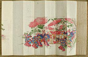 Japanese Stencil Printed Folding Album in Lac Case. Meiji Period