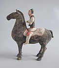 Chinese Han Dynasty Painted Pottery Horse & Rider