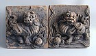Pair Chinese Ming Dynasty Lion Dog Tiles with Oxford TL Test