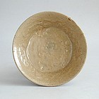Korean Koryo Dynasty Moulded Celadon Stoneware Dish