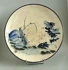 Japanese MIngei Seto Blue/white Stoneware Ishizara Dish. 19th. cent.