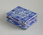 Chinese 19th Century Blue & White Porcelain Box + Inscription (small)