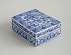Chinese 19th Century Blue & White Porcelain Box with Inscription