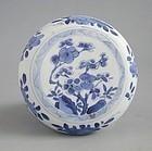 Fine Chinese Blue & White Porcelain Covered Box - Kangxi