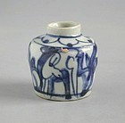 Chinese Ming Dynasty Blue & White Porcelain Deer Jarlet - Wanli Reign