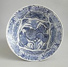 Large Chinese Ming Dynasty Blue & White Swatow Porcelain Bowl - Wanli