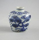 Chinese Ming Dynasty Blue & White Jar -Three Friends of Winter - Wanli