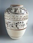 LARGE Chinese Ming Dynasty Cizhou Wine Jar (with filial piety scene)