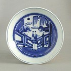 Chinese Qing Dynasty Blue & White Porcelain Dish