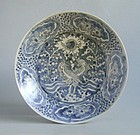 Large Chinese Ming Dynasty Blue & White Porcelain Dish Double Phoenix