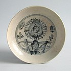 Chinese Ming Dynasty Blue & White Porcelain Dish - Chrysanthemum