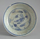 Chinese Ming Dynasty Blue & White Porcelain Dish - Fish