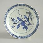 Chinese Ming Dynasty Blue & White Porcelain Dish - Peach & Bird