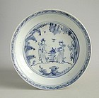 Chinese Ming Dynasty Blue & White Porcelain Dish - Ladies in a Garden