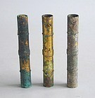 Three Chinese Western Han Dynasty Gilded Bronze Fittings / Tubes