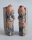 Pair of Chinese Ming Dynasty Painted Pottery Tiles - Lotus Buds
