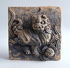 Chinese Ming Dynasty Painted Pottery Lion Dog / Dog of Fo Tile