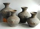 "Fine ""Set"" of Four Chinese Han Dynasty Graduated Pottery Hu Jars"