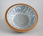 Large Chinese Qing Dynasty Blue & White Batavian Bowl Ex. Lammers