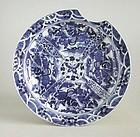 Large Chinese 19th Century Blue & White Porcelain Dish - Kangxi Mark