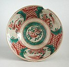LARGE Japanese Meiji Enamelled Inuyama Stoneware Bowl - 19th Century