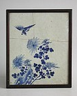 Framed Chinese Qing Dynasty Blue & White Porcelain Tile - Bird