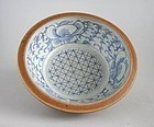 Large Chinese Qing Dynasty Blue & White Batavian Bowl (Ex. Lammers)
