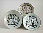 Three Chinese 19th Century Blue & White Porcelain Dishes (Ex. Lammers)
