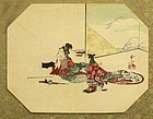 Japanese Uchiwa Fan Woodblock Print by Kyosai 1870s.