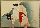 Japanese Woodblock Print Shunga Album Attrib. Tomioka Eisen