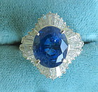 Magnificent 9.87ct Unheated Blue Sapphire Platinum & Diamond Ring