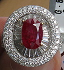 Stunning 2.79ct Unheated Burma Ruby And Diamond Ring GIA