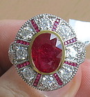 Magnificent 3.51ct Unheated Burma Ruby And Diamond Ring GIA
