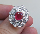 Sensational 3.42ct Unheated Ruby & Diamond Ring GRS Certificate